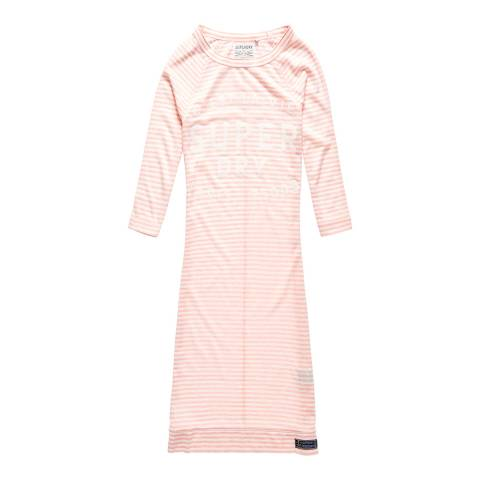 Superdry Blush Pink Stripe Harbour Slouch Crew Neck Dress
