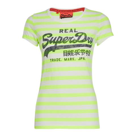 Superdry Lime Stripe Vintage Logo Stripe T-Shirt