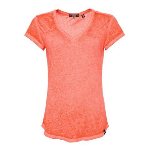 Superdry Fluro Coral Blossom Burnout Vee T-Shirt