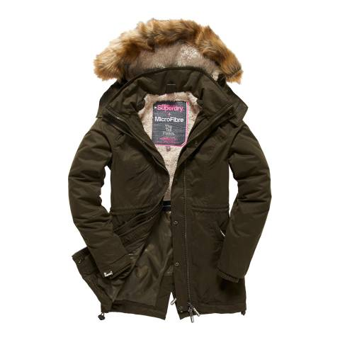 Superdry Army/Blonde Fur Microfibre Tall Parka
