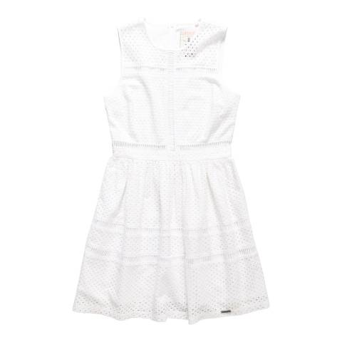 Superdry Optic White Geo Lace Mix Skater Dress