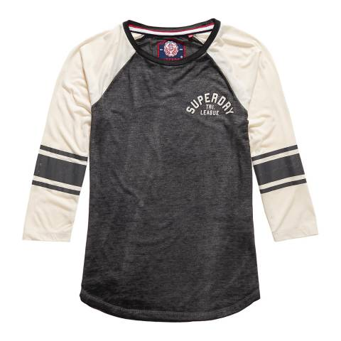 Superdry Charcoal Marl/Off White Tri League Baseball Top