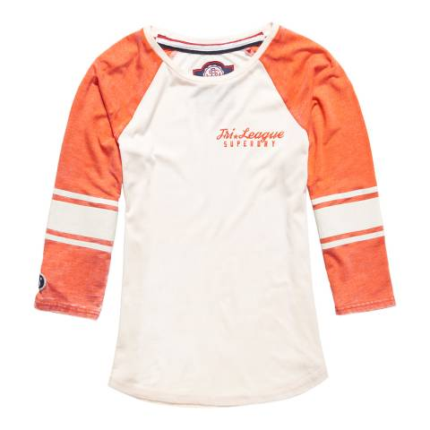 Superdry Off White/Bright Red Tri League Baseball Top