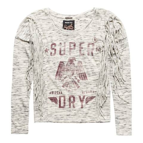 Superdry Canyon Grey Marl Colorado Fringe Long Sleeve Top