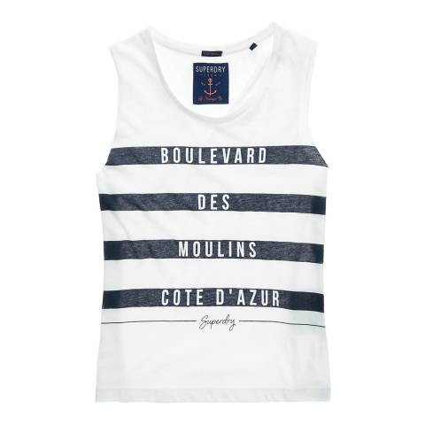 Superdry White/Blue Stripe Slogan Tank