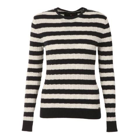 Superdry Navy/Ice Marl Luxe Mini Cable Stripe Knit