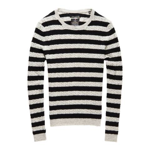 Superdry Grey Marl/Black Luxe Mini Cable Knit