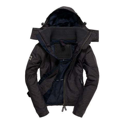 Superdry Mid Charcoal Marl/Navy Cliff Hiker Coat