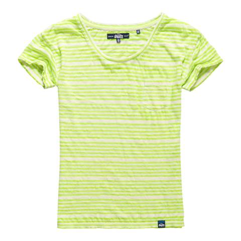 Superdry Wide Fluro Yellow Stripe Essential Sheer Stripe T-Shirt