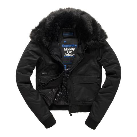 Superdry Black Moody Aviator Bomber Jacket