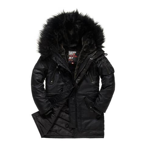 Superdry Black Hooded Parka Jacket