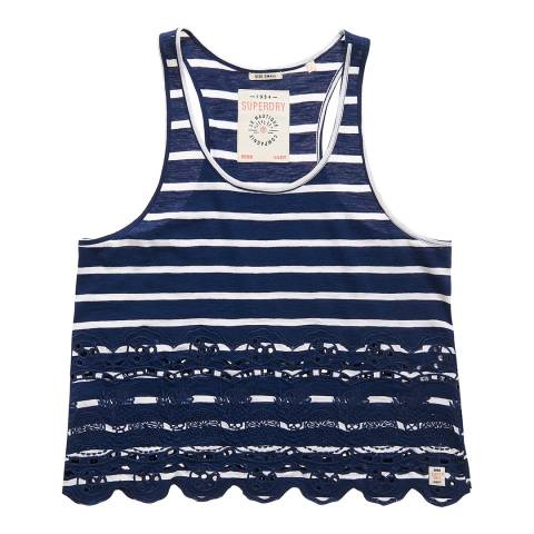 Superdry Navy/White Stripe Shore Broderie Shell Top