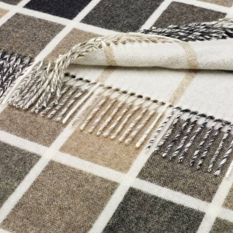Bronte by Moon Natural Multiblock Lambswool Throw 140x185cm