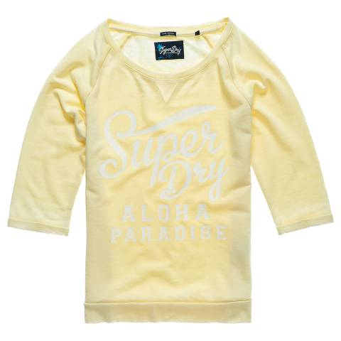 Superdry Island Yellow Burnout Pastel Crew Neck