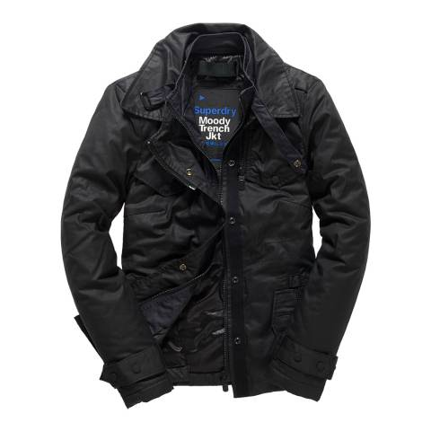 Superdry Black Moody Trench Coat