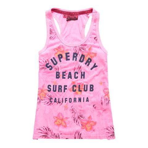 Superdry Fluro Pink Surf Club Aop Overdyed Vest