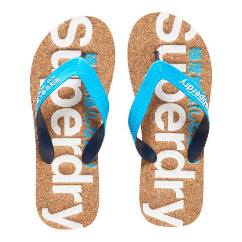 Superdry Fluro Blue/Optic CORK COLOUR POP FLIP FLOP