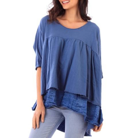 Fille de Coton Indigo Cotton 3/4 Sleeve Top