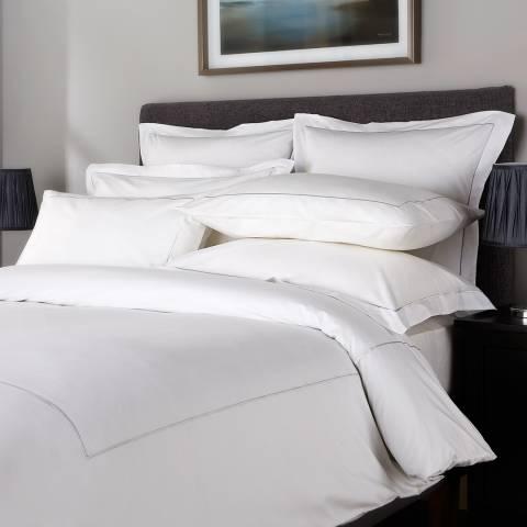 Hotel Living 800TC Single Row Cord King Duvet Cover, Ice Grey/White