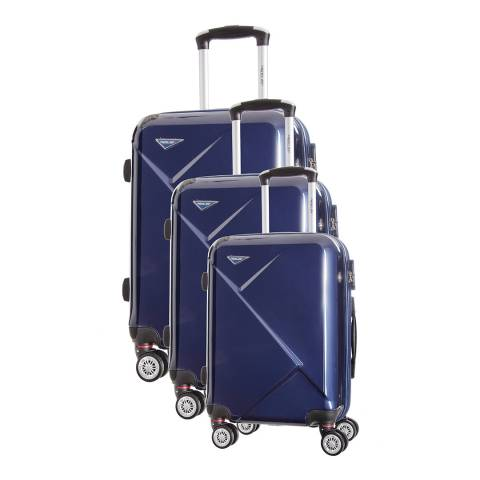 Travel One Marine Azul Set of Three 8 Wheeled Suitcases 50/60/70cm