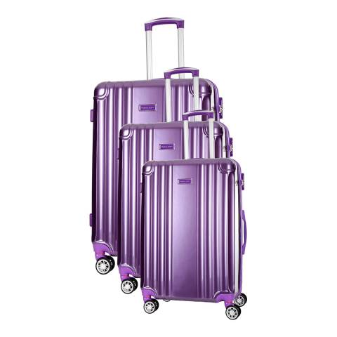 Travel One Violet Comilla Set of Three 8 Wheeled Suitcases 46/56/66cm
