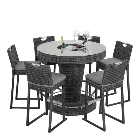 Maze Rattan 6 Seat Round Bar Set with Ice Bucket/Grey