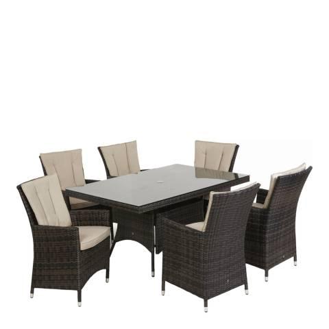 Maze Rattan LA 6 Seat Rectangle Dining Set/Brown