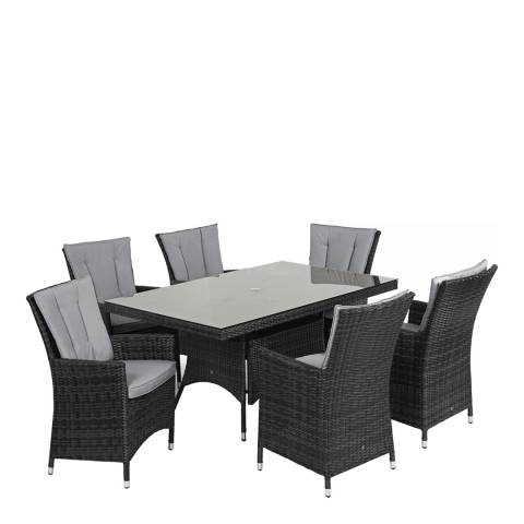 Maze Rattan LA 6 Seat Rectangle Dining Set/Grey