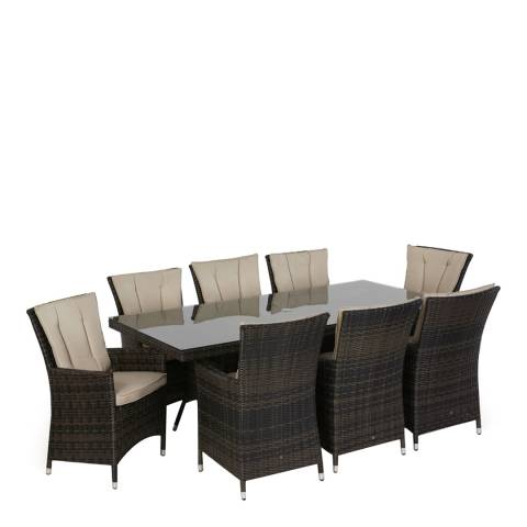 Maze Rattan LA 8 Seat Rectangle Dining Set/Brown