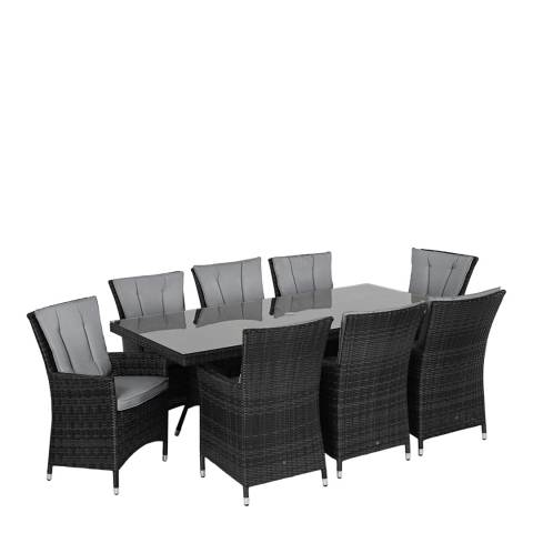 Maze Rattan LA 8 Seat Rectangle Dining Set/Grey