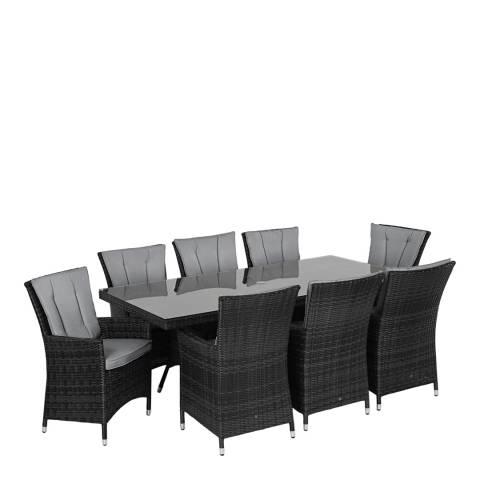 Maze Rattan LA 8 Seat Rectangle Dining Set/Grey