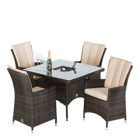 Maze Rattan LA 4 Seat Square Dining Set with Ice Bucket/Brown