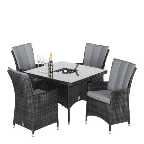 Maze Rattan LA 4 Seat Square Dining Set with Ice Bucket/Grey