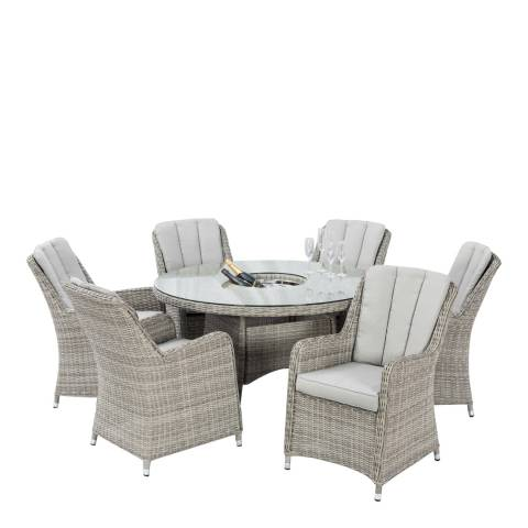 Maze Rattan Oxford 6 Seat Round Dining Set with Venice Chairs & Ice Bucket