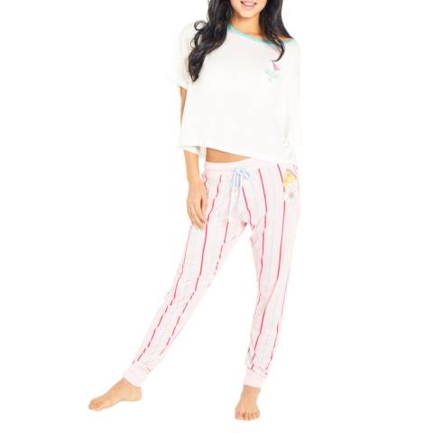 Chelsea Peers White/Pink Top Me Up Stripped Set