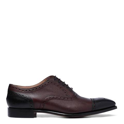 Joseph Cheaney & Sons Black/Burgundy Leather Maidstone Semi Brogues