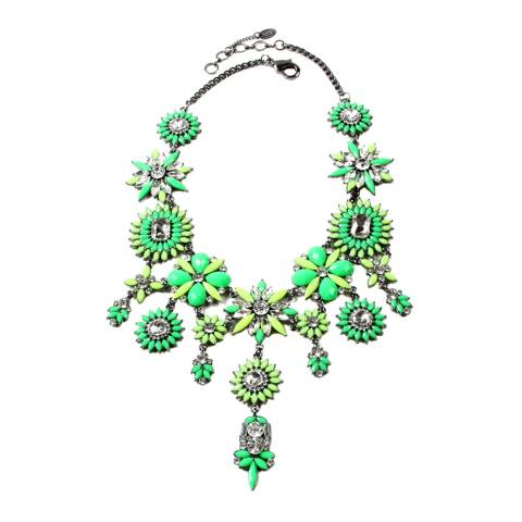 Amrita Singh Yellow/ Green/ Gunmetal Statement Crystal Necklace