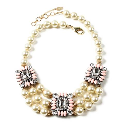 Amrita Singh Peach Pearl Necklace with Austrian Crystals and Resin Stones
