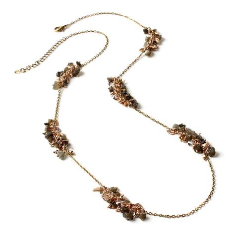 Amrita Singh Gold-tone Chain Necklace with Natural Stone Clusters