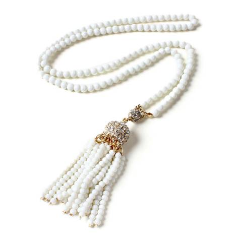 Amrita Singh White Gold Tone Brass Necklace With Austrian Crystals