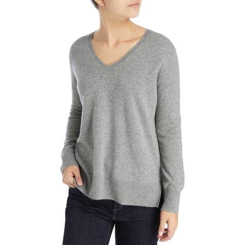 Laycuna London Mid Grey Tony V Neck Cashmere Jumper
