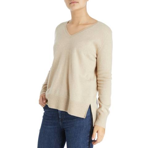 Laycuna London Organic Brown Tony V Neck Cashmere Jumper