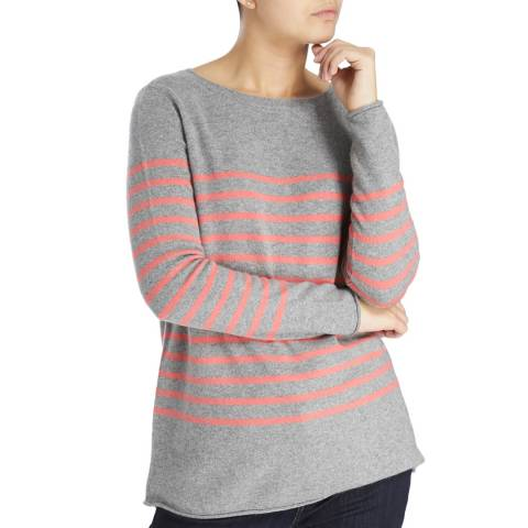 Laycuna London Mid Grey Caroline Stripe Cashmere Jumper