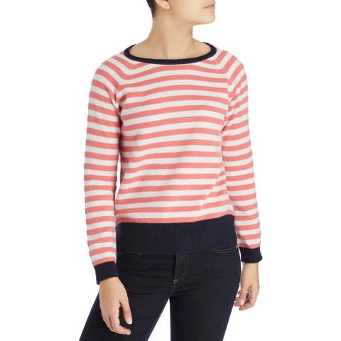 Laycuna London White/Coral Martini Stripe Cashmere Jumper
