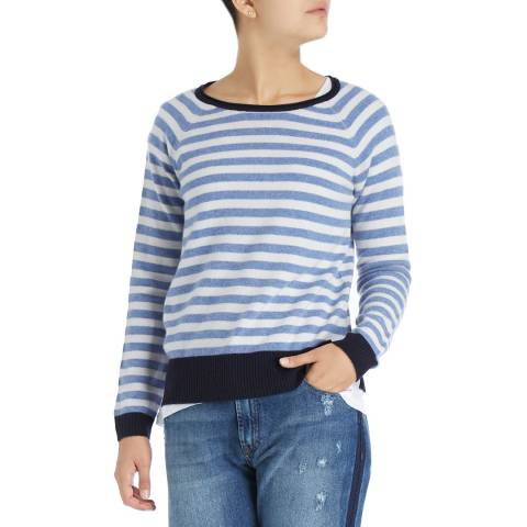 Laycuna London White/Stonewash Martini Stripe Cashmere Jumper