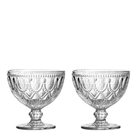 Premier Housewares Set of 2 Clear Embossed Glass Sundae Dishes, 250ml