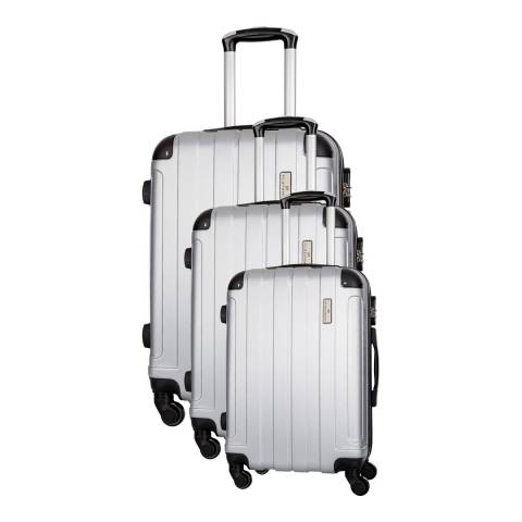 Platinium Silver Delos Set of Three 4 Wheeled Suitcases 46/56/66cm