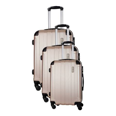 Platinium Beige Delos Set of Three 4 Wheeled Suitcases 46/56/66cm
