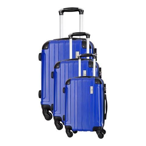Platinium Blue Delos Set of Three 4 Wheeled Suitcases S/M/L
