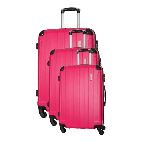 Platinium Fuchsia Delos Set of Three 4 Wheeled Suitcases 46/56/66cm